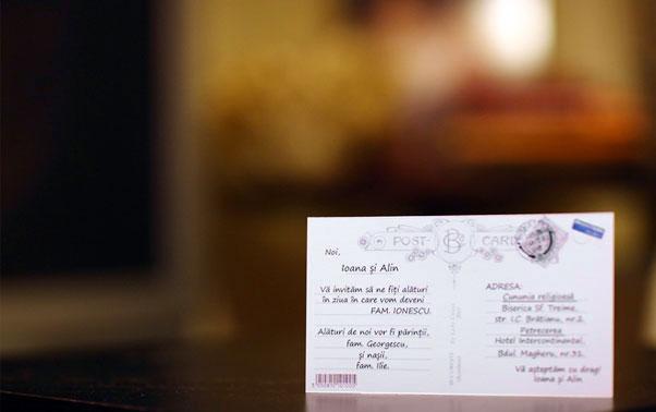 Invitatie de nunta vedere spate Lady Cozac Bucuresti